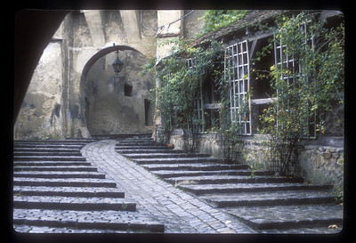 Stairway with bicycle path, Sighisoara, Transylvania, Romania.
