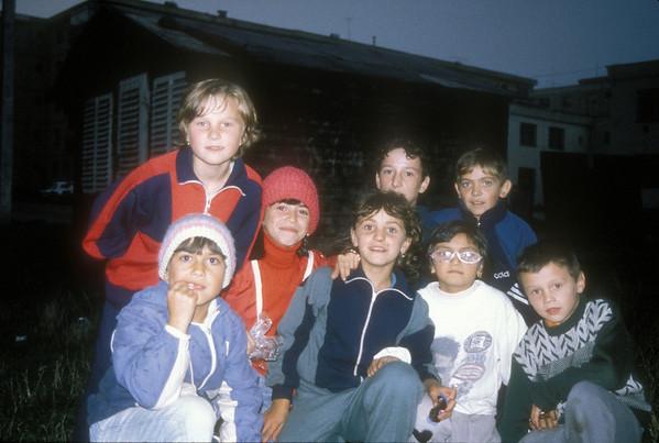 Kids outside the Roma clinic, Brasov, Transylvania, Romania.