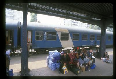 Train station platform, Romania.