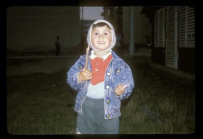 Child outside the Roma clinic, Brasov, Transylvania, Romania.
