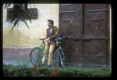 Cool dude and his bicycle, Sighisoara, Transylvania, Romania.