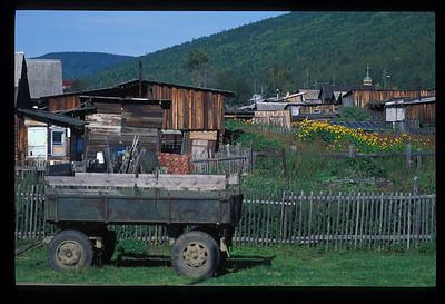 Wagon on farm, Listvyanka, Siberia, Russia.