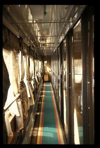 "Corridor on ""Rossiya,"" Trans-Siberian railroad, Russia."