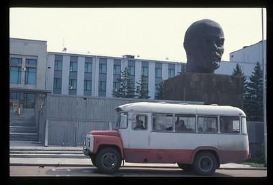 Bus and bust, city center, Ulan Ude, Buryatian Autonomous Republic, Siberia, Russia.