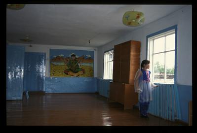 Schoolhouse in the small village of Hargana, Buryatian Autonomous Republic, Siberia, Russia.
