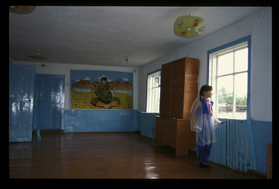 Schoolhouse in the small village of Hargana, Buryatian Autonomous Republic, Siberia, Russia.