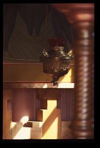 Interior of small Orthodox church near Irkutsk, Siberia, Russia.