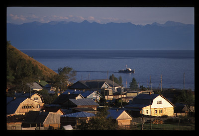 Town of Listvyanka, Siberia, Russia, and Lake Baikal.