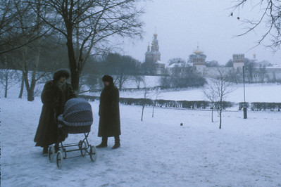 Women on the grounds of Novodevichy Convent and Monastery complex, Moscow, Russia.