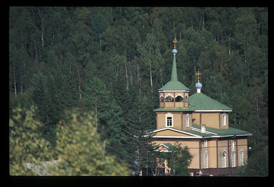 Orthodox St. Nickolai church in the village of Listvyanka, Siberia, Russia.