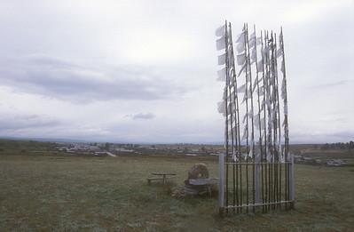 Prayer flags at entrance to the Buryat village of Hargana, Autonomous Republic of Buryatia, Siberia, Russia.