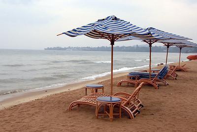 Lake Kivu and the beach at Gisenyi, Rwanda, at the Gisenyi Serena Hotel. Goma, the Democratic Republic of Congo, in the distance.
