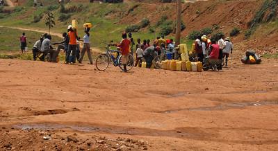 Communal safe drinking water outside Kigali, Rwanda.