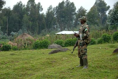 Rwandan soldier, Mt. Sabyinyo, Rwanda.
