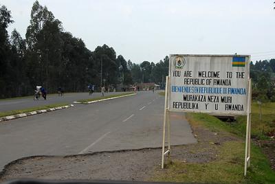 The Uganda/Rwanda border near Kisoro, Uganda.