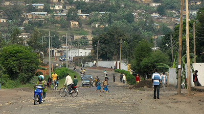 Traffic in Gisenyi, Rwanda, on the border with Congo.