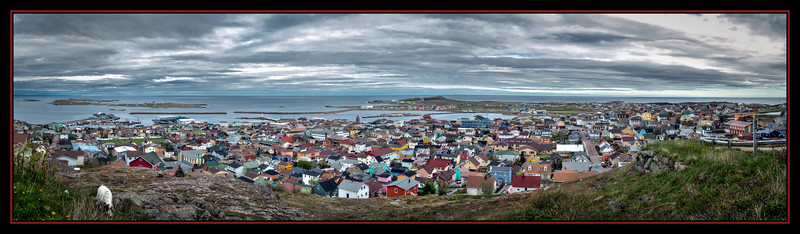 Panorama of the capital St. Pierre, St. Pierre et Miquelon, French Overseas Territory.