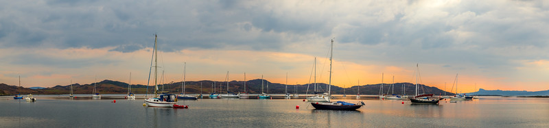 Harbor view at sunset in Scotland.