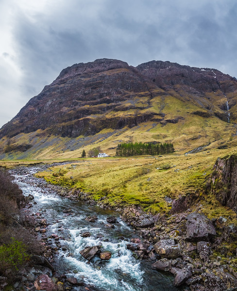 Looking at the Achnambeithach Cottage in Glencoe Scotland.