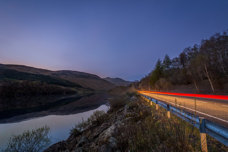 Light trails in Glencoe Scotland.