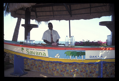Savana Hotel bar and bartender on the Atlantic Ocean, near Dakar, Senegal.