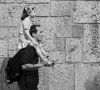 Man and child, Ljubljana, Slovenia