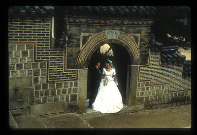 Wedding photo at city gate, Seoul, South Korea.