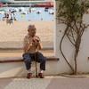 Relaxing at the Palamos boulevard