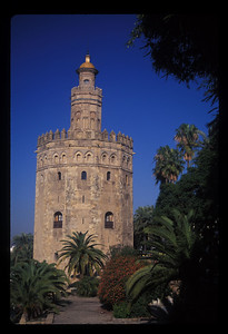 The Torre del Oro, or Gold Tower, from 1221, Seville, Spain.