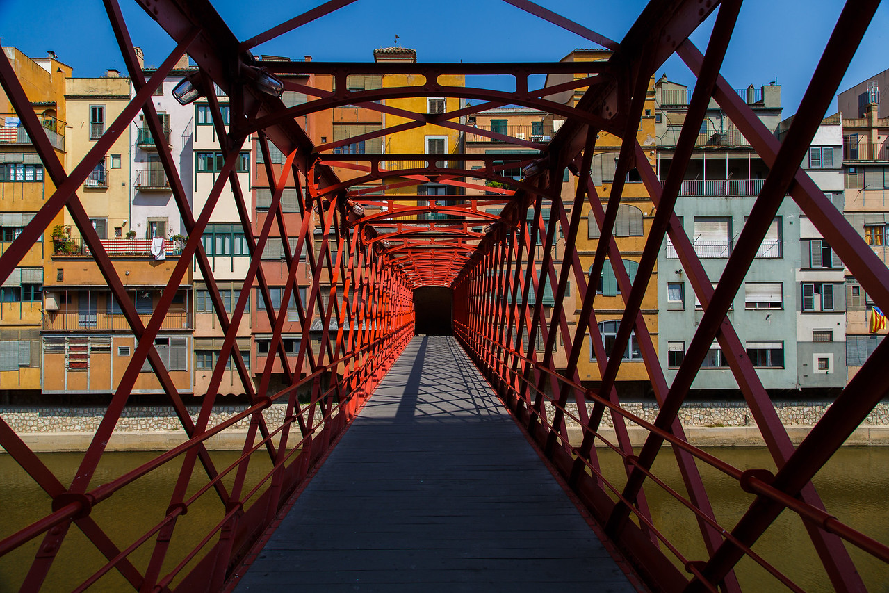 Red bridge in Girona