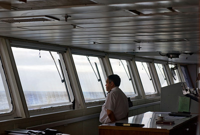 Captain Rodney Young of the RMS St. Helena on arrival at St. Helena Island, South Atlantic Ocean.