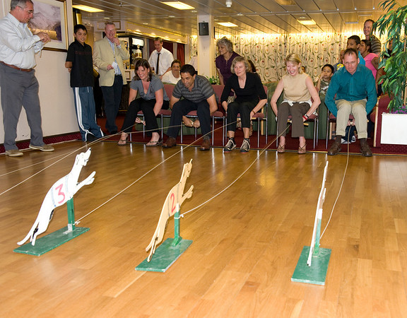 Fiercely contested dog races aboard the RMS St. Helena, South Atlantic Ocean.