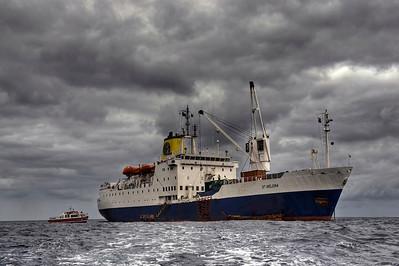 The Royal Mail Ship St. Helena at anchor off St. Helena Island, South Atlantic Ocean - HDR.