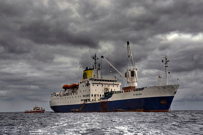 The Royal Mail Ship St. Helena at anchor off St. Helena Island, South Atlantic Ocean - HDR.