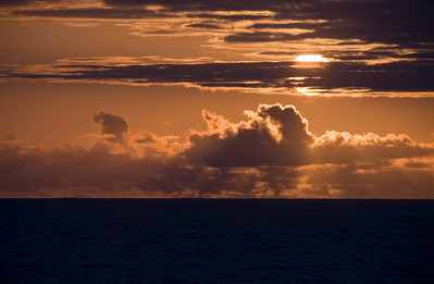 Sunset at sea aboard the RMS St. Helena, South Atlantic Ocean.