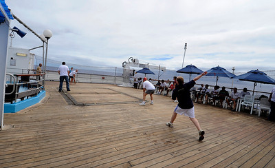 Cricket aboard the Royal Mail Ship St. Helena, South Atlantic Ocean.