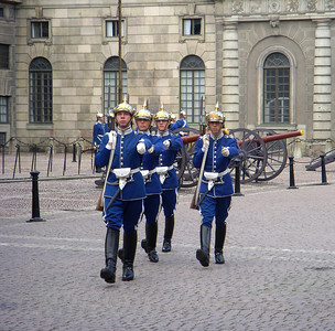 Changing guard at royal residence, Stockholm, Sweden.