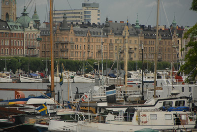 Harbor and Strandvagen, downtown Stockholm, Sweden.