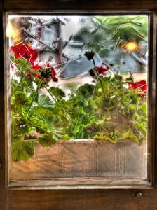 Restaurant window, Mürren, Switzerland, HDR.