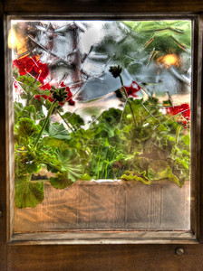 Restaurant window, Mürren, Switzerland, HDR.