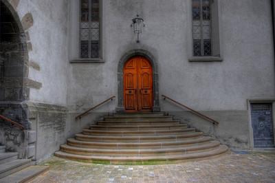 Church entrance, Chur, Switzerland.