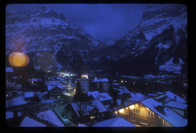 Grindelwald, Switzerland and Mt. Eiger, at night.