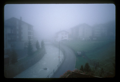 Fog over a canal, Zarmatt, Switzerland.