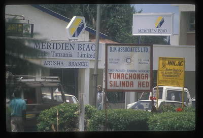 Signs in town center, Arusha, Tanzania.