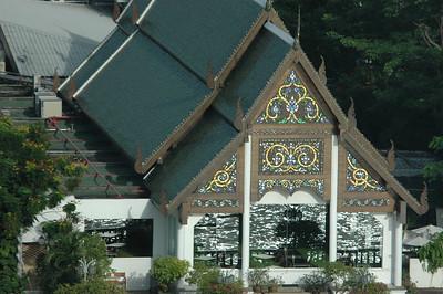Building on Chao Praya river, Bangkok, Thailand.