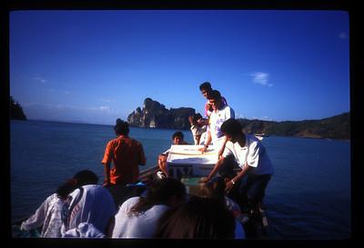 Bringing a TV to Koh Phi Phi, Thailand.