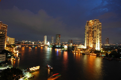 Chao Praya river, Bangkok, Thailand, at dusk.