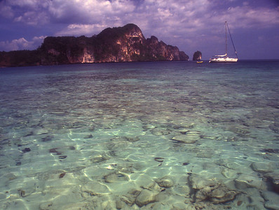 Sailboat and clear water, southern Thailand.