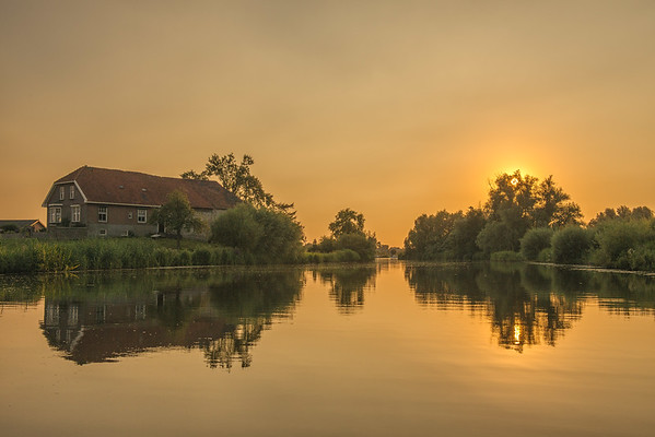 The Netherlands - Sunset at the Linge at Gellicum