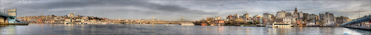 Eight HDR panorama of the Golden Horn from one end of the Galata Bridge, Istanbul, Turkey, to the other. Each HDR is comprised of nine exposures.